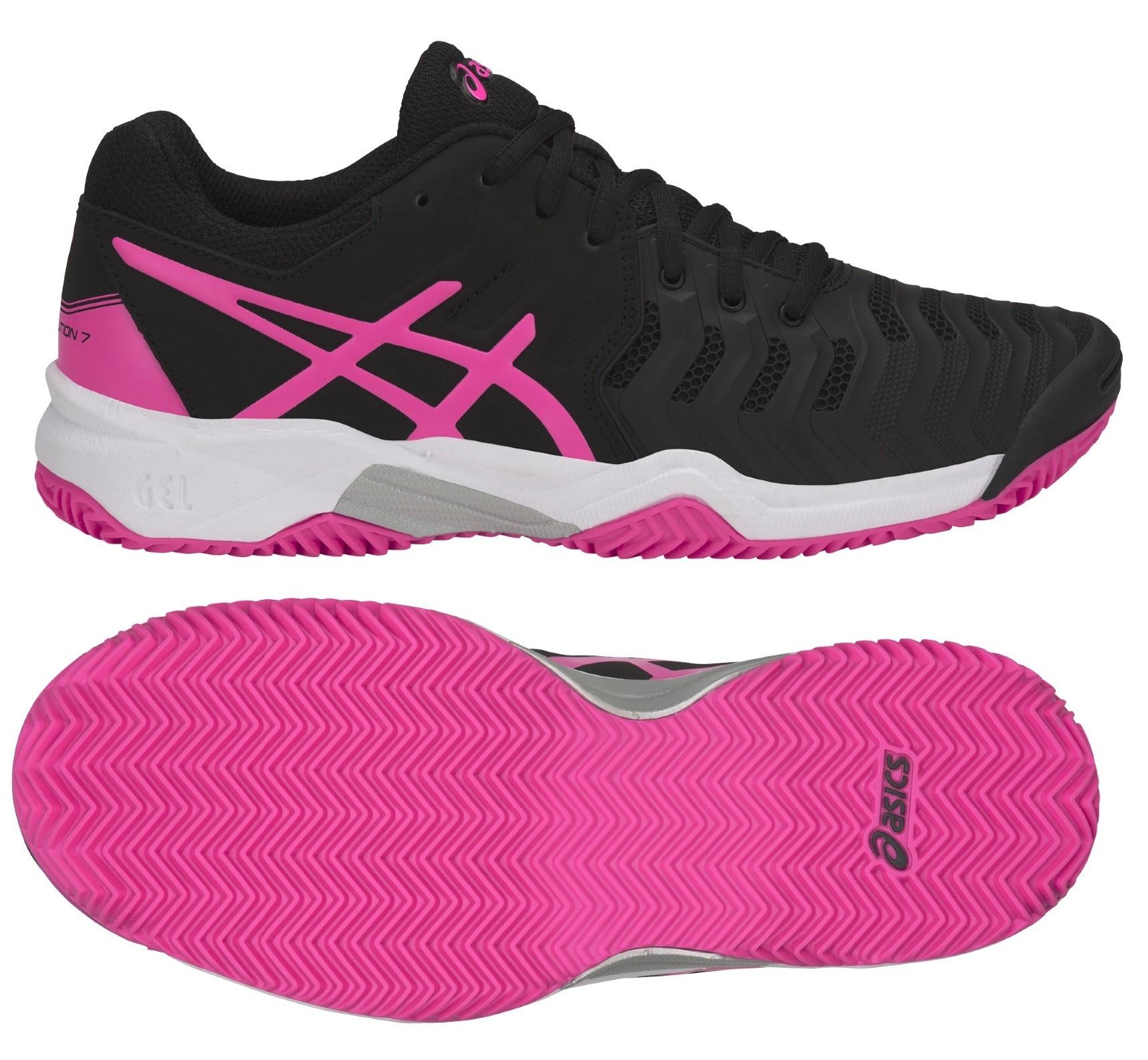 Dětská tenisová obuv Asics Gel Resolution 7 Clay GS C800Y-9020 černá s  růžovou df0b9ee43e