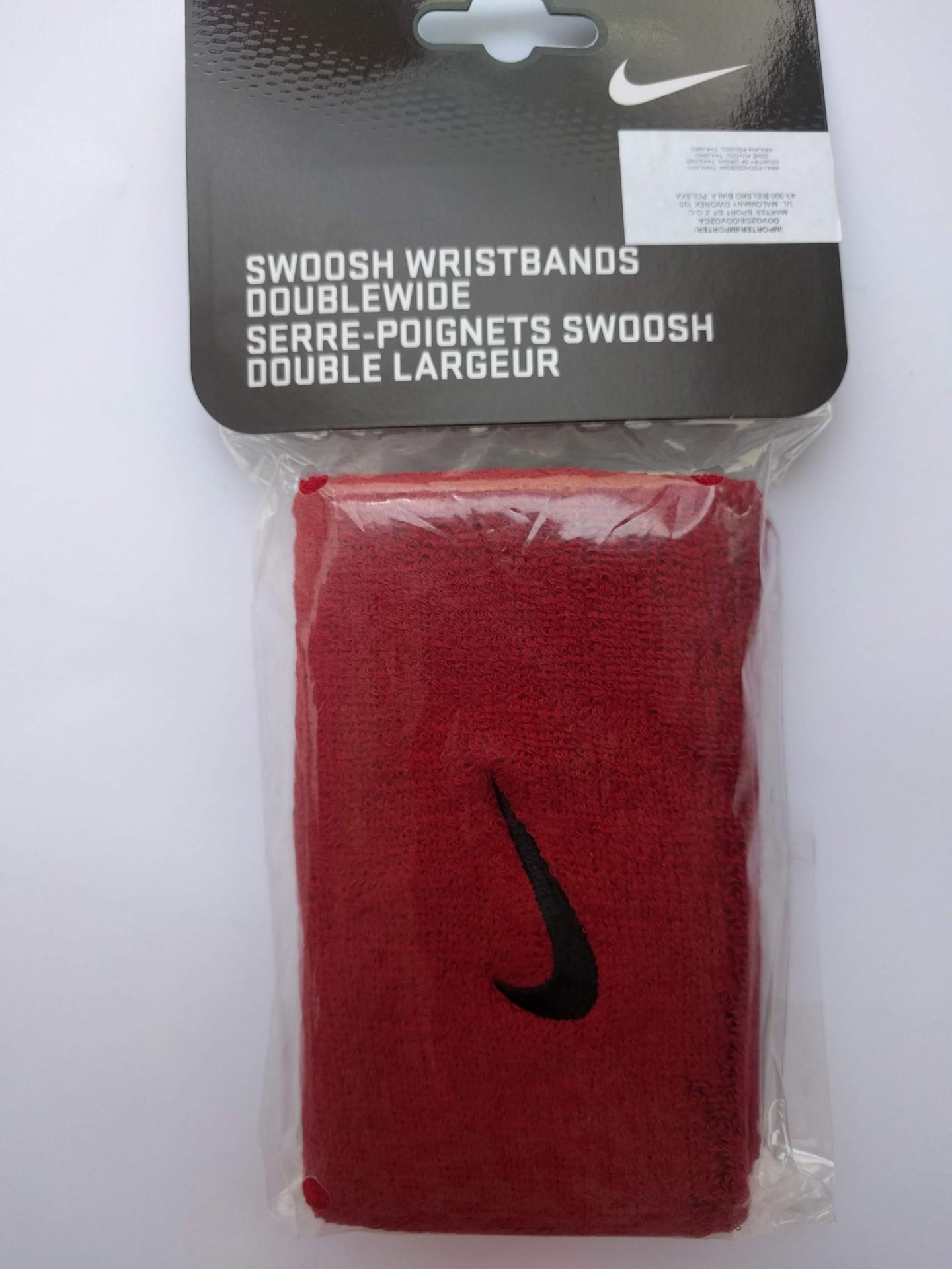 Tenisové potítko Nike Swoosh Wristbands Doublewide červená 0a9c3e575c