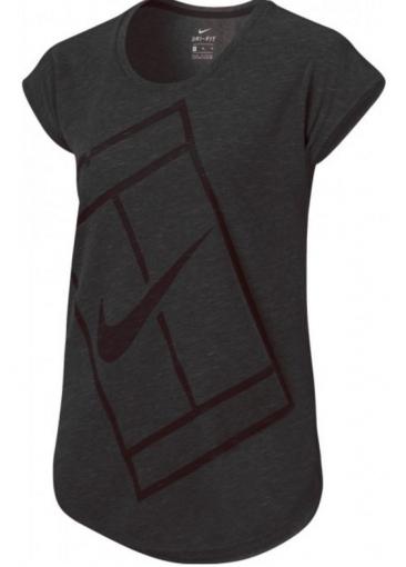 Dívčí tenisové tričko Nike Baseline Top 822280-010 šedé