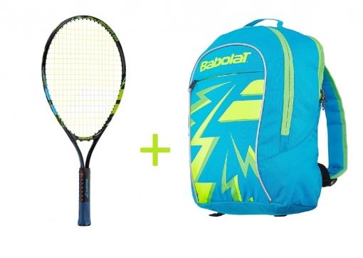 Kinder Tennisschläger Babolat BALLFIGHTER  23 + Kinderrucksack Babolat Junior Club Backpack blue