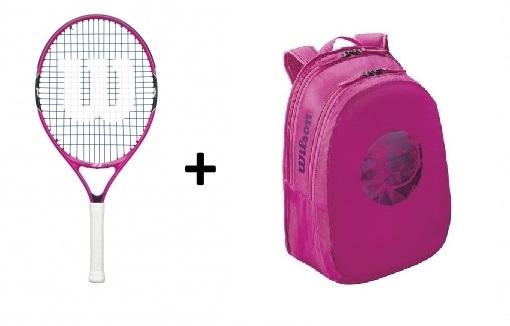 Tenisový set Wilson 23 - raketa Burn 23 pink a batoh Wilson Junior růžový
