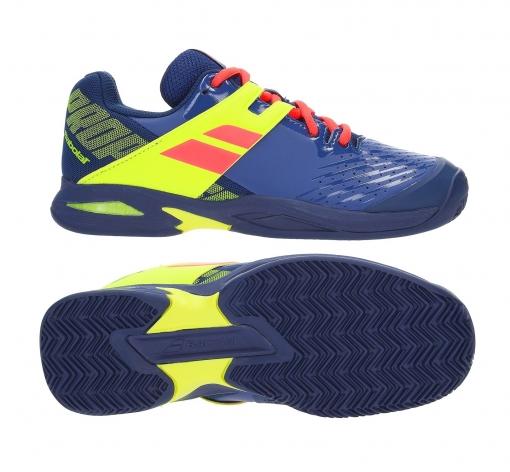 Kinder Tennisschuhe Babolat PROPULSE Clay Junior blau-gelb