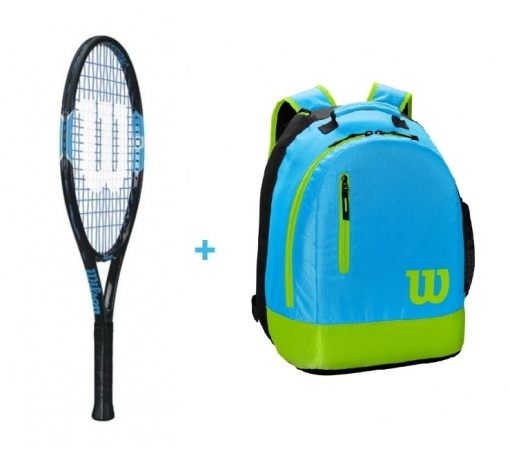 Kinder Tennisschläger Wilson Ultra Team 23 + WIlson Youth Backpack blau