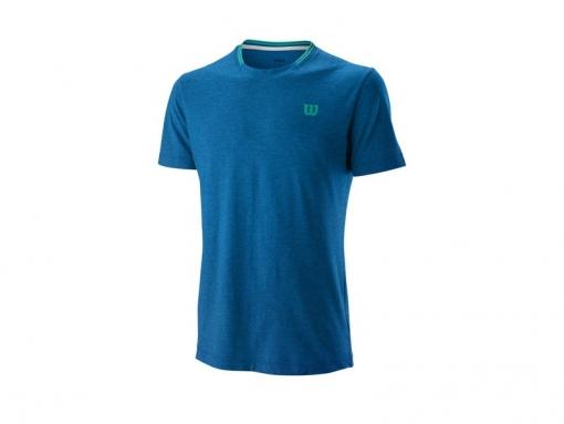 Tenisové tričko Wilson Competition Flecked Crew T-Shirt WRA773401 modré