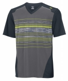 Kinder Tennis T-Shirt Wilson Specialist Stripe V-Neck grün-grau