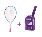 Kinder Tennisschläger Babolat B´FLY 21 + Kinderrucksack Babolat Junior Club Backpack purple