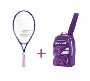 Kinder Tennisschläger Babolat B´Fly 23 2017 + Kinderrucksack Babolat Junior Club Backpack purple