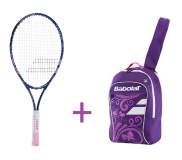 Kinder Tennisschläger Babolat B´FLY 25 + Kinderrucksack Babolat Junior Club Backpack purple