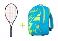 Kinder Tennisschläger Babolat BALLFIGHTER 25 + Kinderrucksack Babolat Junior Club Backpack blau