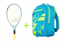 Kinder Tennisschläger Babolat BALLFIGHTER  21 + Kinderrucksack Babolat Junior Club Backpack blau