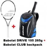Tennispaket Babolat DRIVE 105 + Babolat CLUB backpack blau