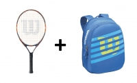 Set Wilson 23 - Kindertennisschläger Burn 23 + Kinderrucksack Match JR blau