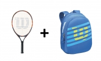 Set Wilson 21 - Kindertennisschläger Burn 21 + Kinderrucksack Match JR blau