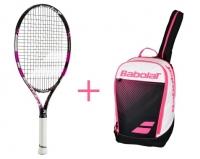 Babolatpaket - Pure Drive 25 JR pink + Club Classic BP pink