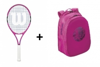 Tennis Set Wilson 25 - Schläger Burn 25 pink + Match Jr Backpack violet