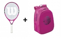 Tennis Set Wilson 21 pink - Schläger Burn 21 pink + Wilson Junior Backpack pink