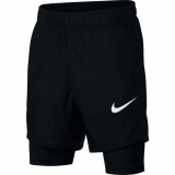 Dětské tenisové kraťasy Nike Hybrid Training Shorts AQ9491-011 černé - dvojitý efekt