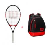 Kinder Tennisschläger Wilson FEDERER 26 + Kinderrucksack Wilson Youth Backback rot