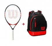 Kinder Tennisschläger Wilson FEDERER 23 + Kinderrucksack Wilson Youth Backpack rot