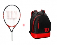 Kinder Tennisschläger Wilson FEDERER 21 + Kinderrucksack Wilson Youth Backpack rot