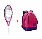 Mädchen Tennisschläger Wilson Burn 21 pink + Wilson Youth Backpack pink