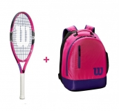 Kinder Tennisschläger Wilson BURN 23 pink + Wilson Youth Backpack pink