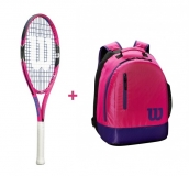 Kinder Tennisschläger Wilson BURN 25 pink + Wilson Youth Backpack pink