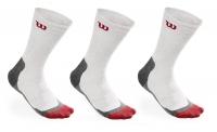 Tenisové ponožky Wilson High-End CREW Sock  3 páry bílé
